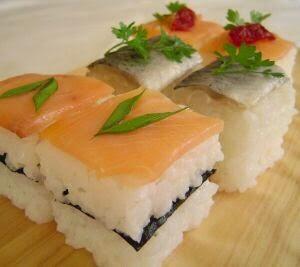 pressed sushi pieces