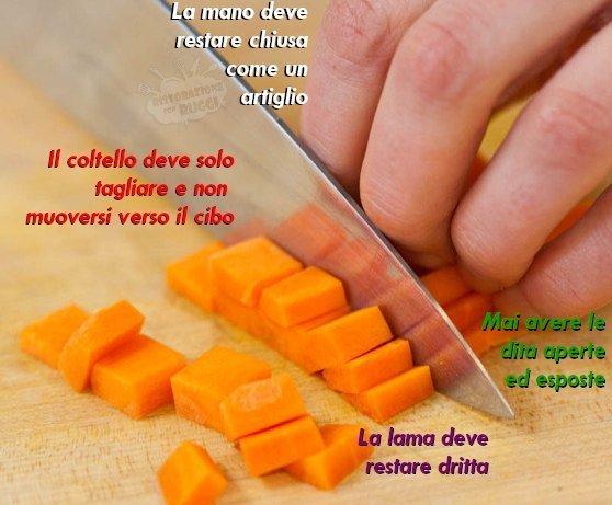 Nella maggiorparte dei tagli il coltello verrà mantenuto come nella foto  qui in basso.