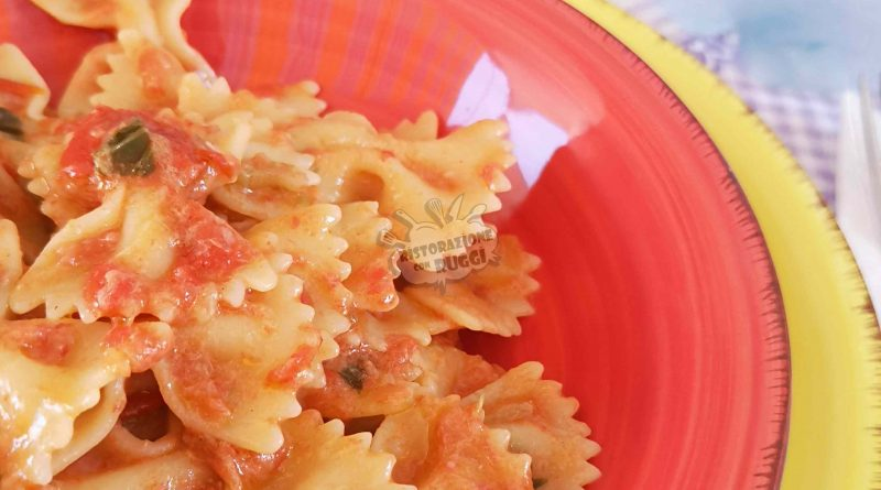 farfalle al tonno mousse pomodoro ricetta facile veloce semplice primo piatto ristorazione con ruggi pasta 2